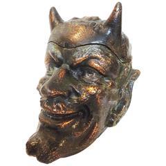 Copper Devil Head Tobacco Jar in the Style of Johann Maresch