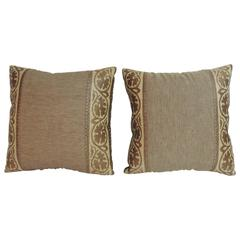 Pair of Antique Textile Arts & Crafts Woven Decorative Linen Pillows