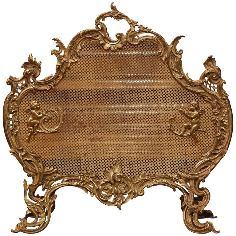 Mid 19th Century French Louis Xv Carved Bronze Screen With