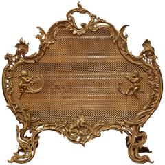 Mid-19th Century French Louis XV Carved Bronze Screen with Cherubs