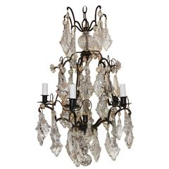Charming French Patinated Bronze Crystal Six-Light Chandelier Bird Cage Fixture