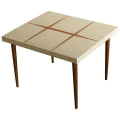 Rectangular Walnut Side Table with Walnut Inlaid Terrazzo Top
