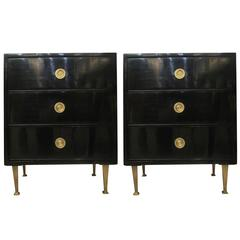 Pair of Mid-Century Lacquered Nightstands in the Neoclassic Manner