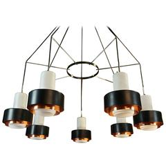 Large Italian Stilnovo MidCentury Solid Copper and Opaline Chandelier Light