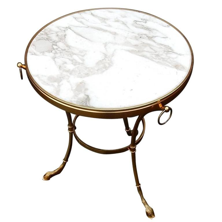 Pedestal Table in Gilt Bronze with Top in White Marble Maison Charles, 1950-1970