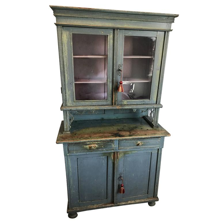 Swedish Gustavian Glass Top Cabinet
