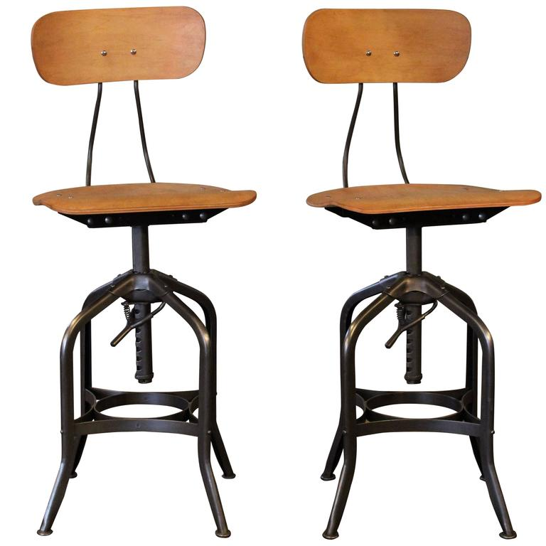 Pair Bar Stools   Bent Plywood Vintage Industrial Toledo Adjustable Chairs  For Sale