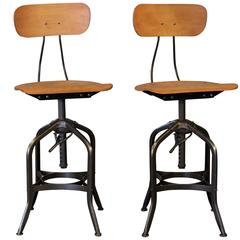 Pair of Bent Plywood Vintage Industrial Toledo Adjustable Bar Stools, Chairs
