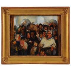 Martha Walter '1875-1976' Ellis Island Oil on Panel, Signed