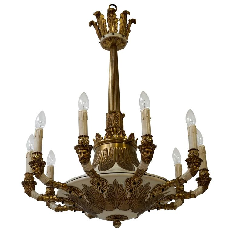 Spectacular Bronze and Painted Chandelier