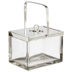 Art Deco Silver and Glass Ice Bucket Dated Birmingham, 1934