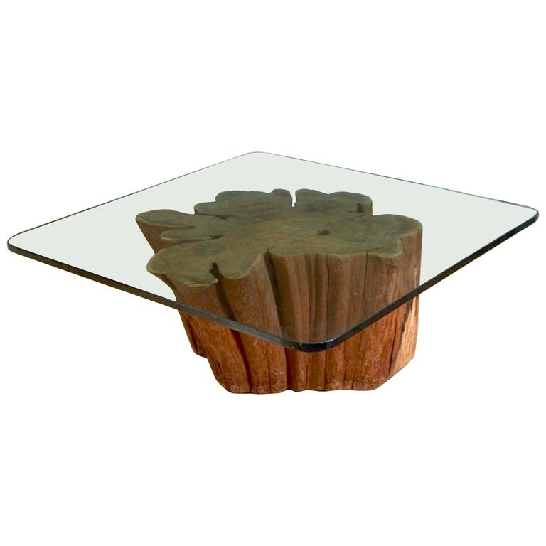Redwood trunk coffee table with glass top at 1stdibs Tree trunk coffee table glass top