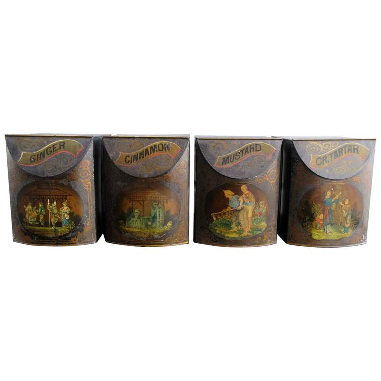 Set of Four 19th Century English Tole Spice Canisters