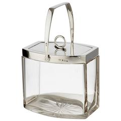 Art Deco Silver and Glass Ice Bucket Dated Birmingham, 1923 by Hukin & Heath