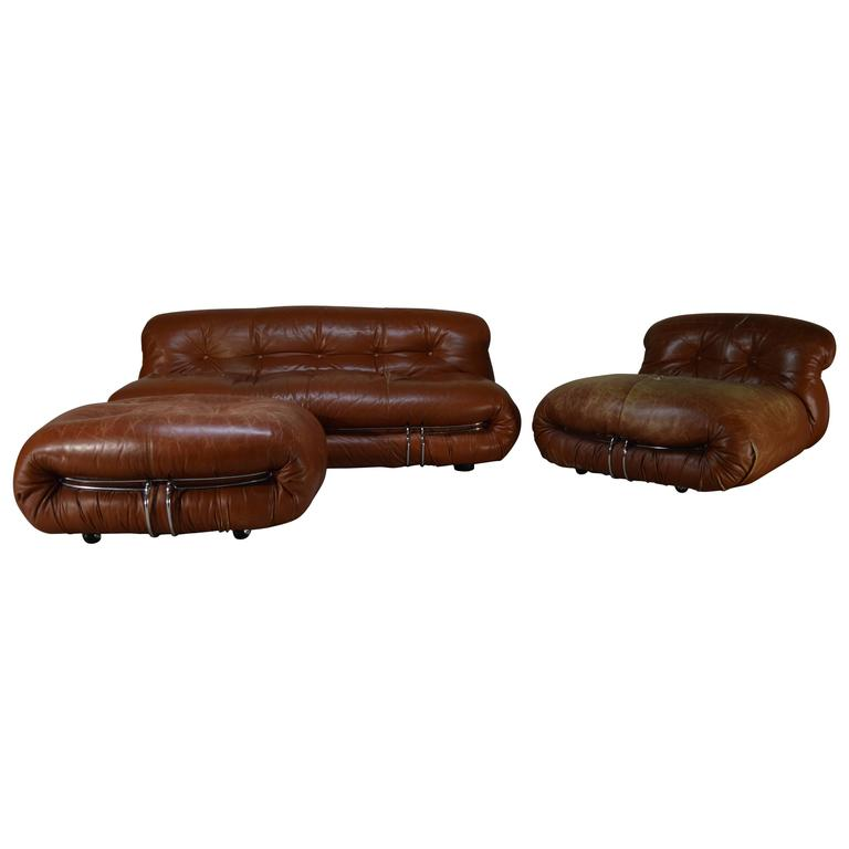 Afra and tobia scarpa distressed leather soriana sofa for Distressed leather sectional sofa with chaise