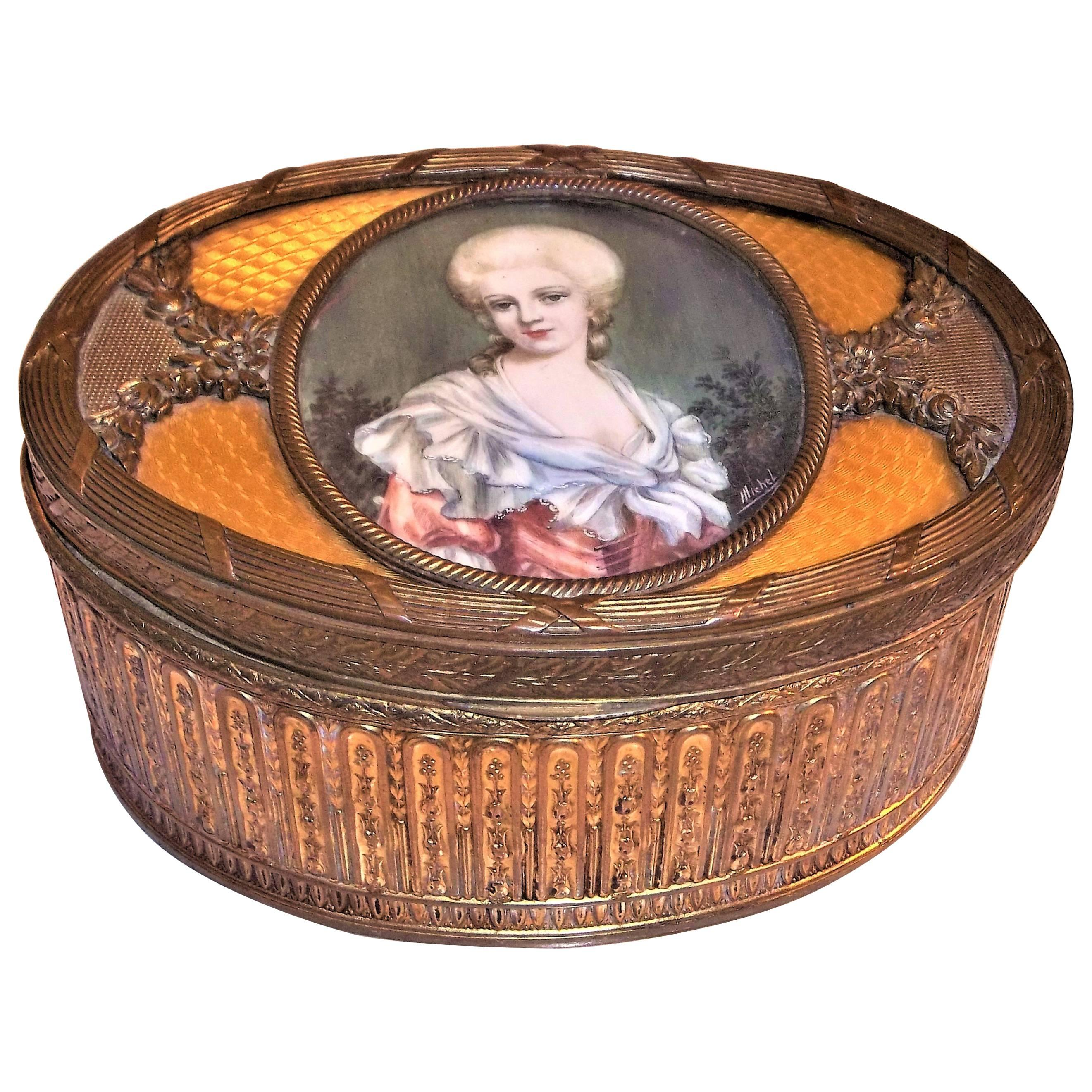 Louis XVI Style Gilt Bronze and Guilloche Enamel Box