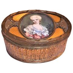 Louis XVI Style Gilt Bronze and Guilloche Enamel Box