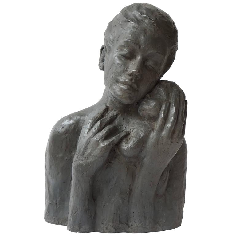 Sculpture of a Mother with Baby For Sale