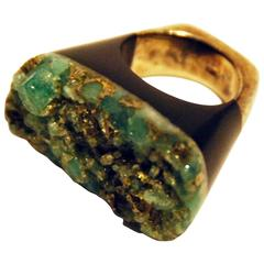 Emerald and Pyrite Ring by Pulowi