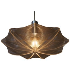 Mid-Century Ufo Form String and Lucite Hanging Light Fixture