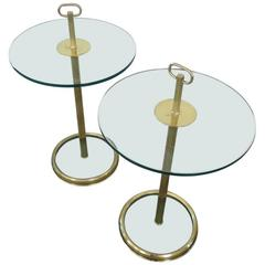 Pair of 1960s Brass and Glass Tables
