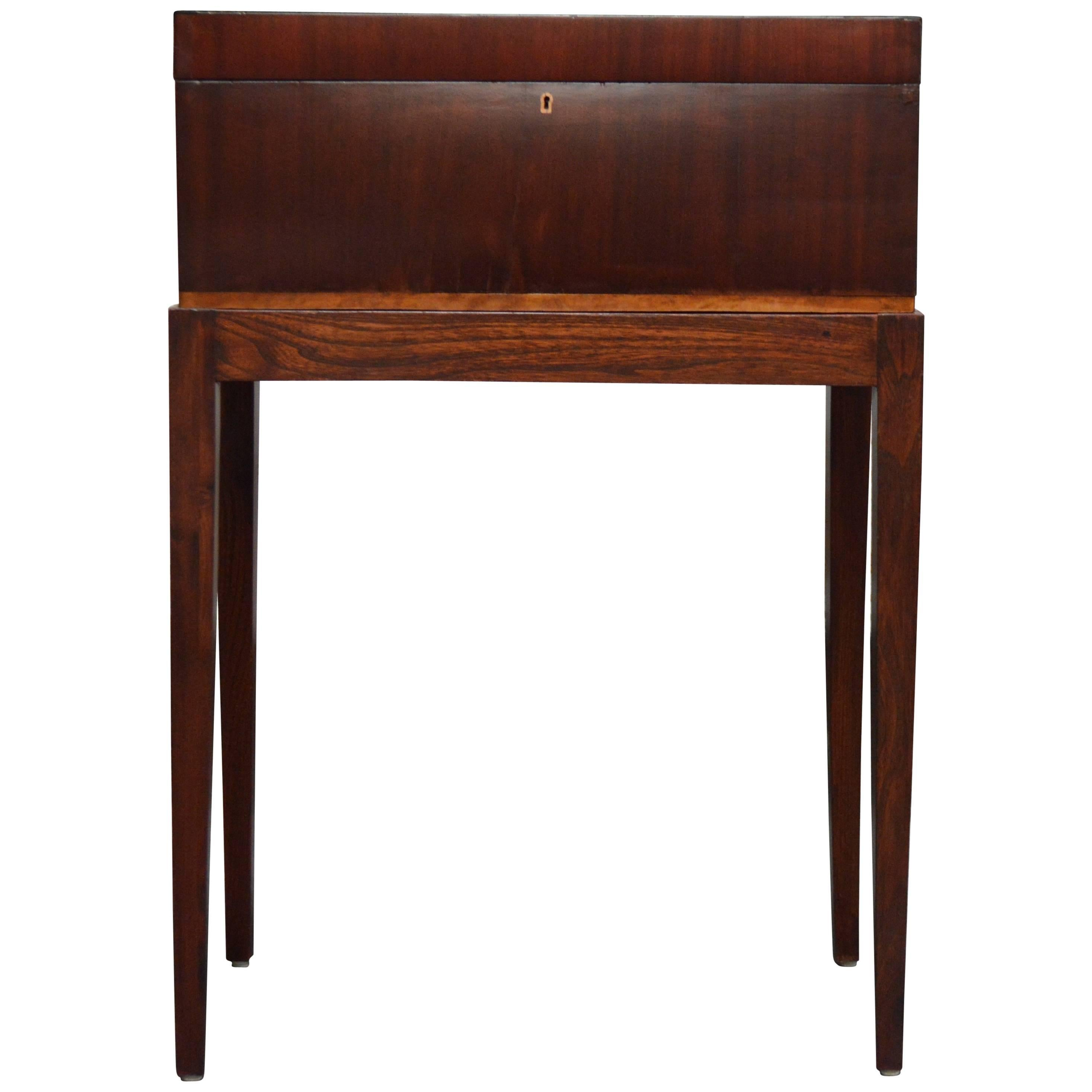 Antique Mahogany Intarsia Writing Box or Lap Desk on Rosewood Stand