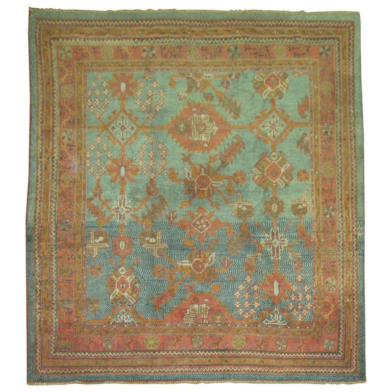 Oushak Rugs For Sale: Antique Oushak Square Rug For Sale At 1stdibs