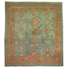 Green Orange Antique Oushak Square Rug