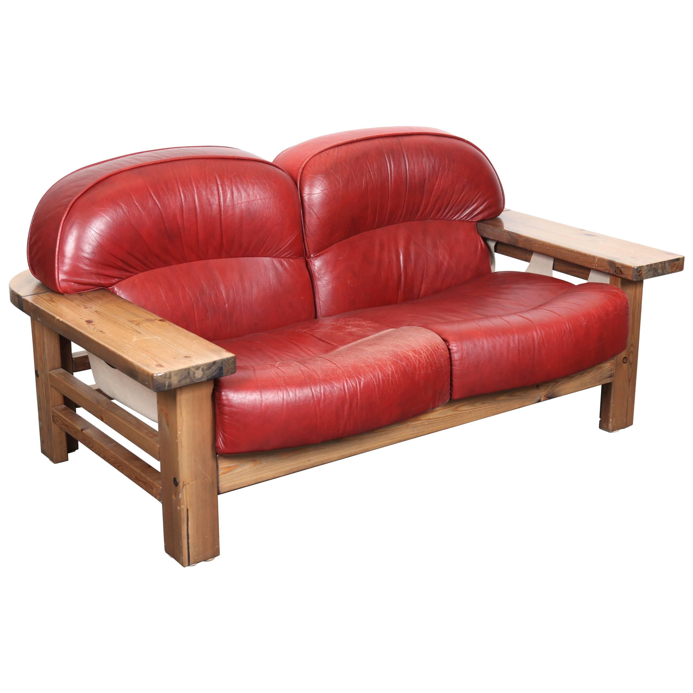 Mid Century Modern Red Leather Sofa By Hameen Kalustaja Finland