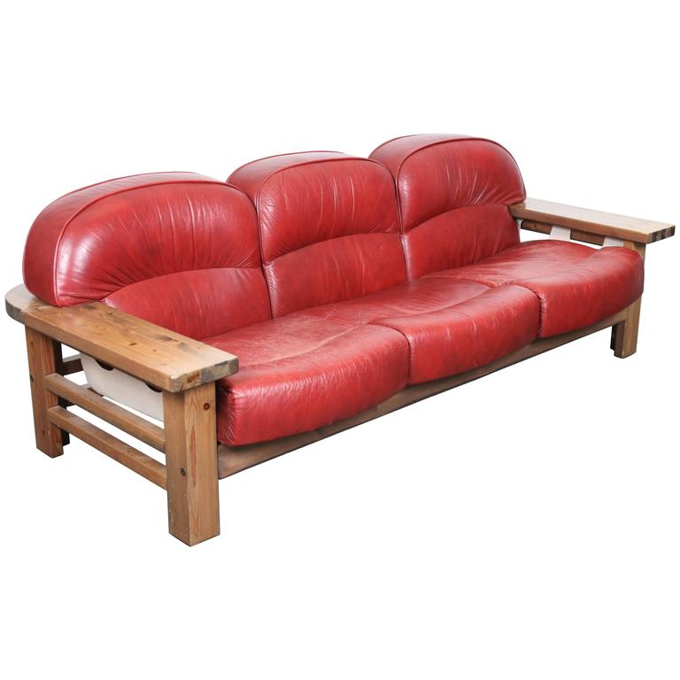 Mid Century Modern Red Leather Sofa By Hämeen Kalustaja, Finland, 1970u0027s 1