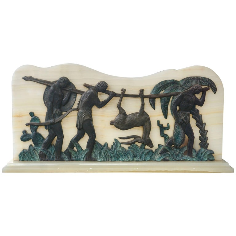 Art Deco Bronze and Onyx Hunting Sculpture For Sale