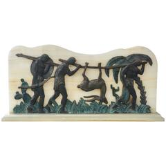 Art Deco Bronze and Onyx Hunting Sculpture