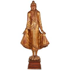 Very Large Gilt Thai Standing Buddha