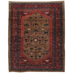 Antique Bakshaish Carpet, Oriental Persian Handmade in Brown, Blue and Red
