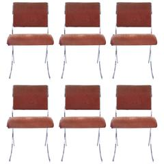 Maison Jansen, Suite of Six Chairs, Metal, circa 1960, France