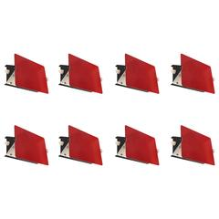 "Charlotte Perriand, Suite of Eight Red Sconces, Model ""CP1"",circa 1960, France"