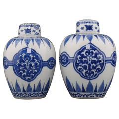 Chinese Porcelain Blue and White Pair Ovoid Jars and Covers, Kangxi