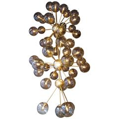 Very Large Murano Chandelier with Smoke Grey Sphere Glass