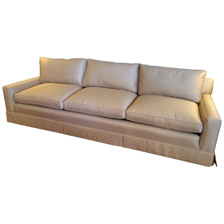 Sophisticated Custom Very Long Khaki Sofa For Sale