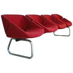 Mid-Century Bench by Thonet with Four Chairs