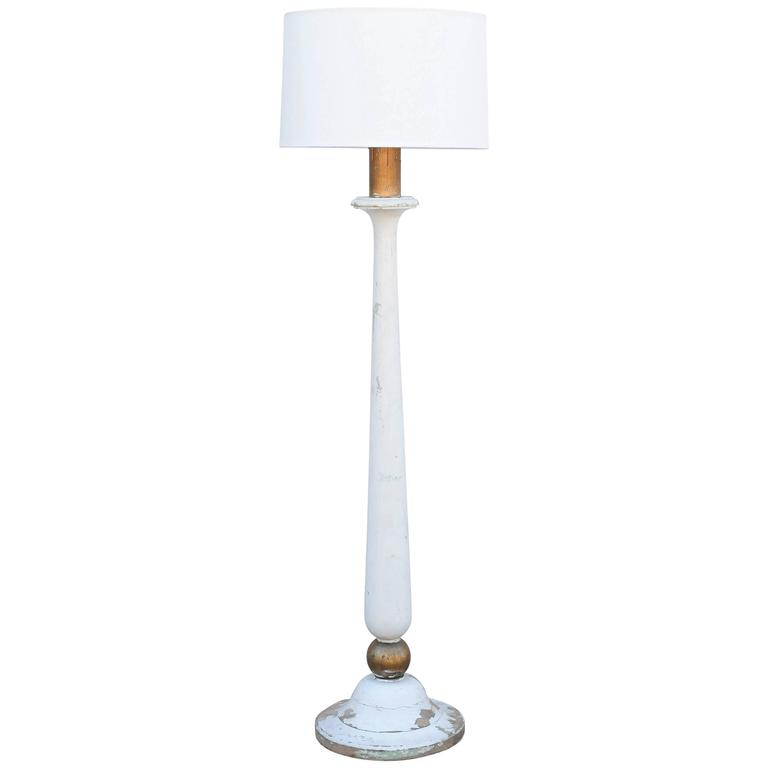 Painted wood floor lamp from france for sale at 1stdibs for Wooden floor lamp for sale