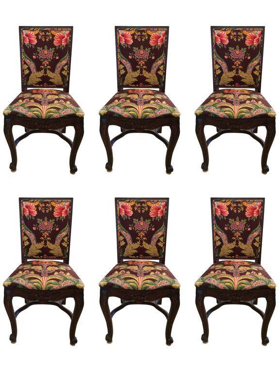 Set of Six Carved Mahogany Dining Chairs with Brunschwig and Fils Upholstery For Sale