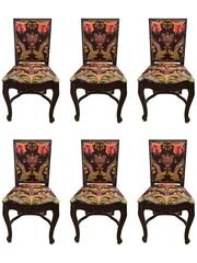 Set of Six Carved Mahogany Dining Chairs with Brunschwig and Fils Upholstery