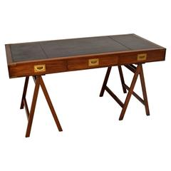 Antique Campaign Style Mahogany Leather Top Desk