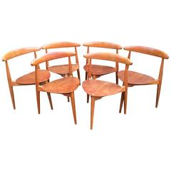 Set of Six Hans Wegner 'Heart' Chairs 'Model FH4103' for Fritz Hansen