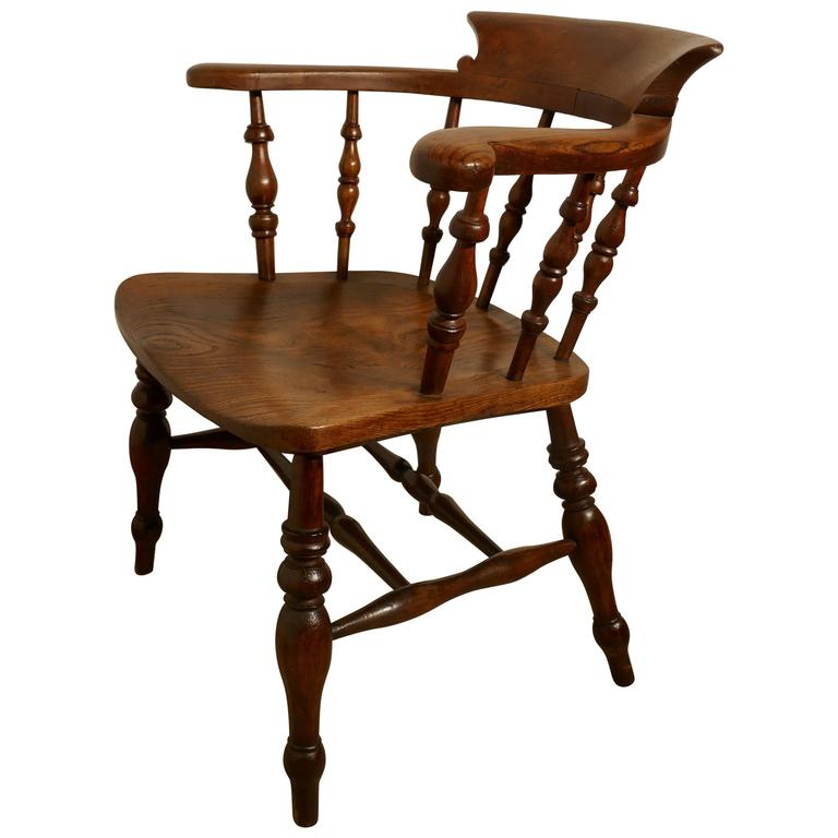 19th Century Elm And Ash Smokers Bow Captains Chair