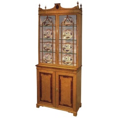19th Century Birdseye Maple Display Bookcase
