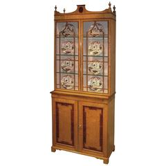 19th Century Birdseye Maple Display Bookcase