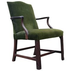 19th Century Gainsborough Library Chair in the Manner of Thomas Chippendale