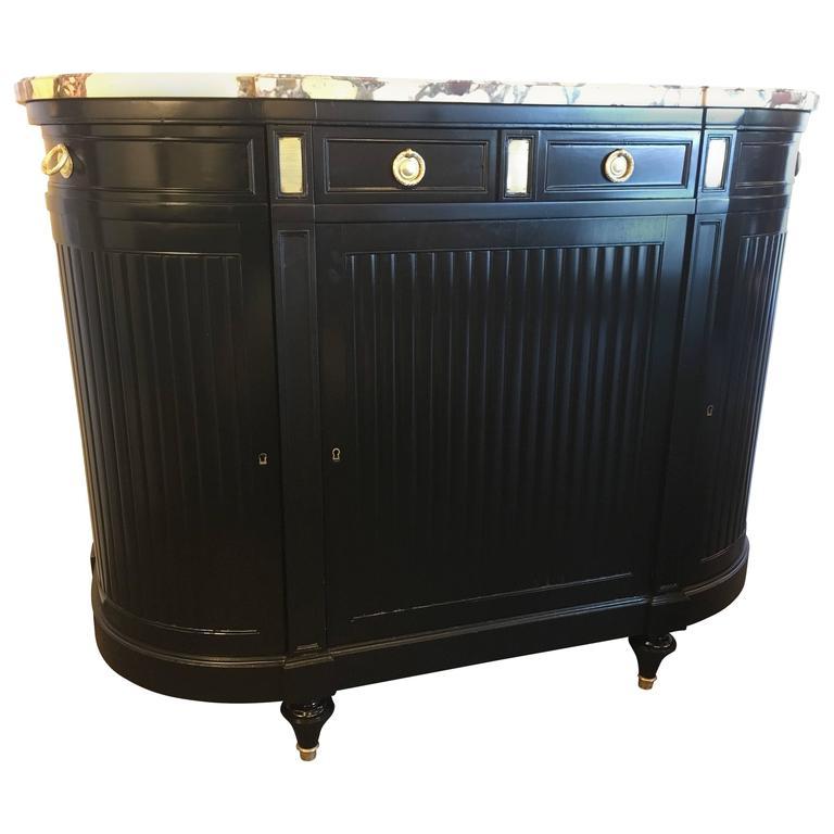 Maison Jansen Louis XVI Style Ebonized Demilune Server Cabinet For Sale